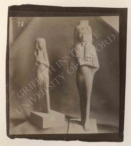 [Left] Female statuette, wood, Dyn. XIX, from Deir el-Medina, now in Turin, Museo Egizio, Cat. 31...