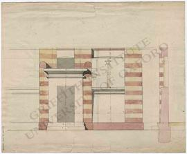 Design for house (façade) with Egyptianizing elements, with measurements