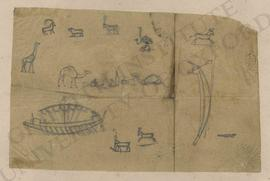 Sketches of African animals and boats