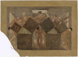Design for a ceiling fresco, with nude men between cubic stone blocks