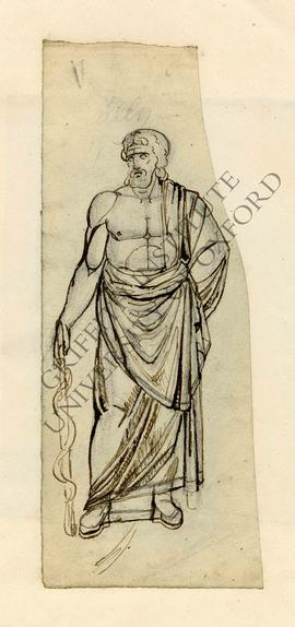 Free-standing sculpture of Asclepius with Rod in left hand
