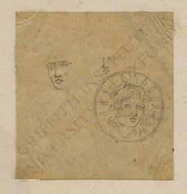 Sketches of male head and obverse of ancient Greek coin with radiate head of Helios