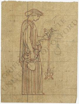 Woman holding ewer and lamp in grid