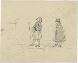 Two finely dressed male figures (one wearing eastern clothing with fez, the other wearing western...