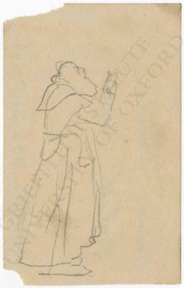 Bearded monk with arms upraised
