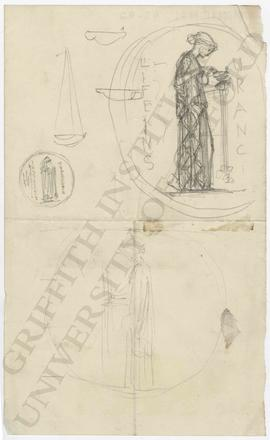 Tondo designs of woman pouring oil into a lamp and holding ewer and lamp, with details of lamps