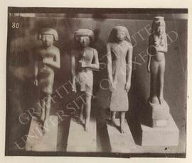 [Left] Statuette of Heptirehu(?), wood, 1st half of Dyn. XVIII, provenance not known, now in Turi...