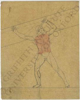 Lunging male nude (probably design for pediment)