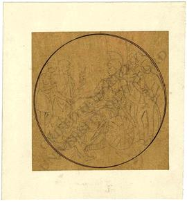 Tondo design of Britannia being offered an olive branch