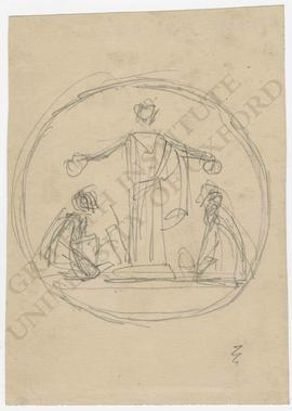 Tondo design of female figure (probably goddess) awarding wreaths to two kneeling figures
