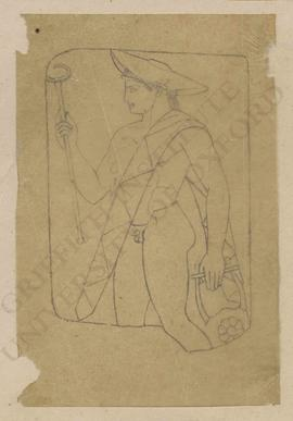 Hermes with caduceus, broad-brimmed hat (petasos) and lyre