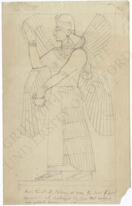 Iraq. Nimrud (Kahlu). North-West Palace. Room I. Panel 20. Relief depicting a female winged prote...