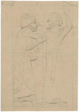 Relief depicting one man striking another man holding decapitated head, Neo-Assyrian; sketch in g...