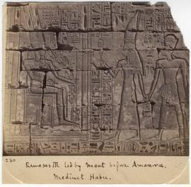 [230] Rameses III led by Mout before Amen-ra. Medinet Habu.
