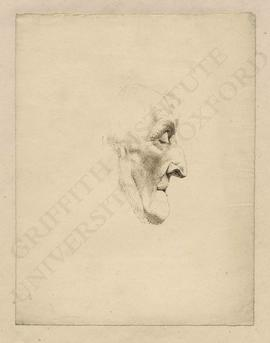 Portrait (profile view) of Sir Long Thomas Roberts, based on a death mask made by Joseph Nolleken...