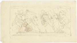 Marble slab of the Amazon frieze of the Mausoleum of Halikarnassos, with three Greek warriors and...