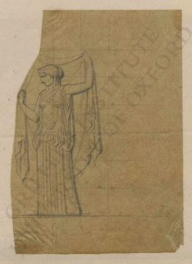 [Hermes in winged hat (petasos) and winged sandals with caduceus = Bonomi MSS 48.13] unveiling a ...