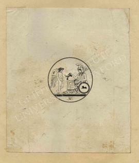 Circular design of Britannia replenishing the lamp of the genius of art, with annotations and ske...