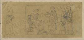 Sketches of three standing women presenting objects (including building and statue models) to sea...