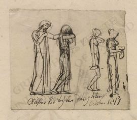 Oedipus led by his daughter, and sketches of two female figures holding vases