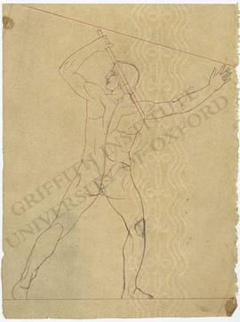 Frontal view of male nude with stick (probably design for pediment)