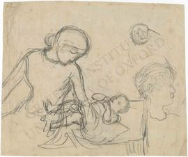 Mother and infant, with sketches of children's faces
