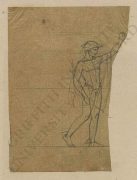 Hermes in winged hat (petasos) and winged sandals with caduceus [unveiling a woman in classical d...