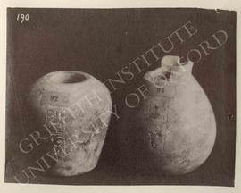 Two vases of Princess Nubemtekh, calcite, Middle Kingdom, provenance not known, now in Turin, Mus...
