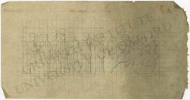 Frieze design with women holding amphorae and warriors in grid