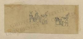 Two sketches of scene depicting the pharaoh offering to seated deities
