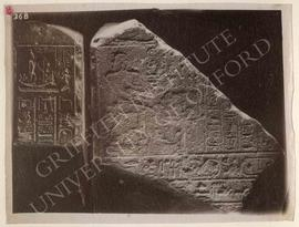 Fragment of the stela of Psammethek-emakhet showing the deceased seated before the offerings on t...