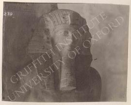 Head of the statue of Tutankhamun with Amun-Re, usurped by Haremhab, from Thebes, now in Turin, M...