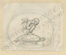 Crouched putto sleeping on a tortoise's back, with study