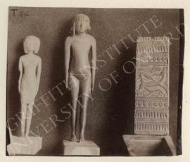 [Left] Statuette, not identified, now in Turin, Museo Egizio; [middle] statuette of Nefertmau, wo...