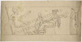 Frieze design featuring seated nude warrior (perhaps Ares) with spears and shield, seated woman (...