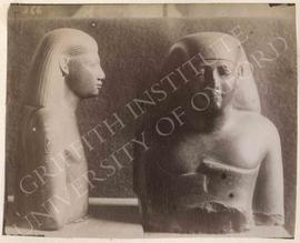 [Left] Upper part of a male statue with a cartouche, green schist, temp. Psammetikhos I or II, pr...