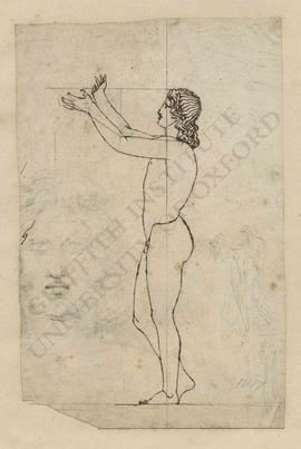 Profile view of standing male nude with hands upraised, with frontal sketch of face and other fig...
