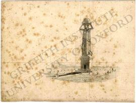 Lighthouse design with colossal statue of woman