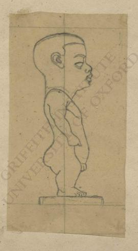 Profile view of ancient Egyptian figurine of male dwarf