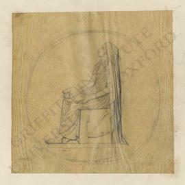 Tondo design of woman with book seated on chair with anchor motif
