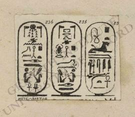 Cartouches of Ptolemy VI Philometor, cutting from publication