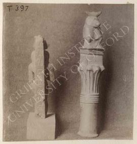[Left] Statuette of a standing ram-god, not identified, now in Turin, Museo Egizio; [right] statu...