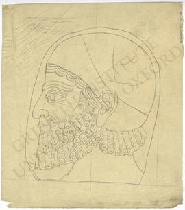 Relief depicting bearded male foreigner's head profile, probably a Syrian, Neo-Assyrian; sketch/t...