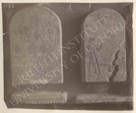 [Left] Stela of In and his wife Sen[t], early Dyn. XVIIII, provenance not known, now in Florence,...