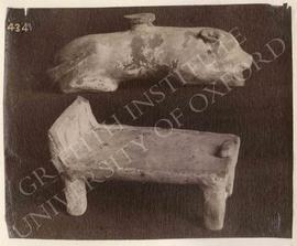 Animal-shaped vase and a bed, pottery, not identified, now in Turin, Museo Egizio