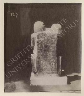 Back of the double-statue of Mery and his wife Suiro, basalt, late Dyn. XVIII, provenance not kno...