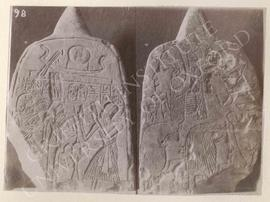 Stela showing Pedekhons(pe)khrod(?) in adoration before Queen Ahmosi Nefertere and Amenophis I, a...