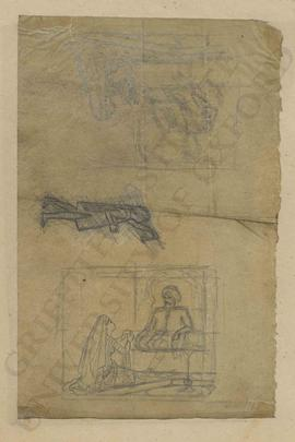 Sketches of woman kneeling before turbanned man, and child holding lamp aloft