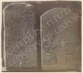 [Left] Stela of Nebimosi, dedicated by his brother Minnakt, early Dyn. XVIII, provenance not know...