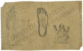 [Left] Chief from Canaan, with hieroglyphic inscription, not identified. [Centre] Study of foot